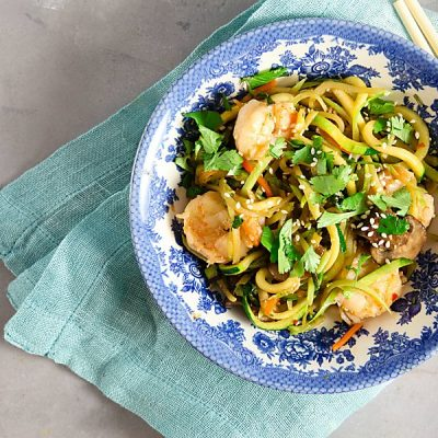 Zucchini Noodle Shrimp Stir Fry (Paleo, Whole 30)