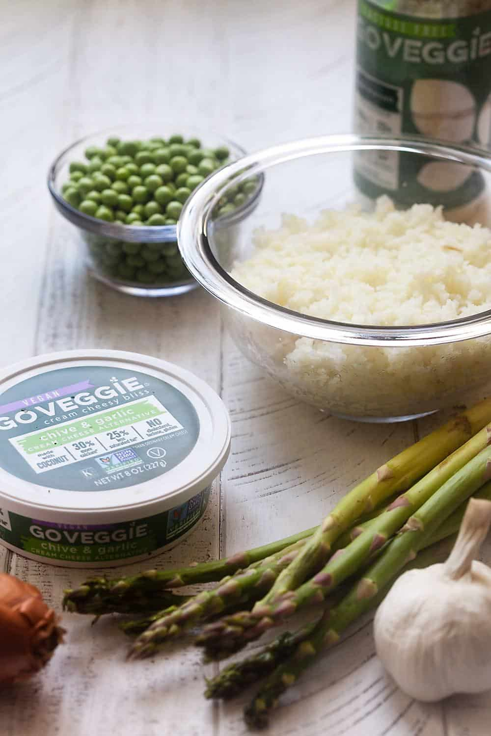 """Cauliflower Rice """"Risotto"""" with Peas and Asparagus"""