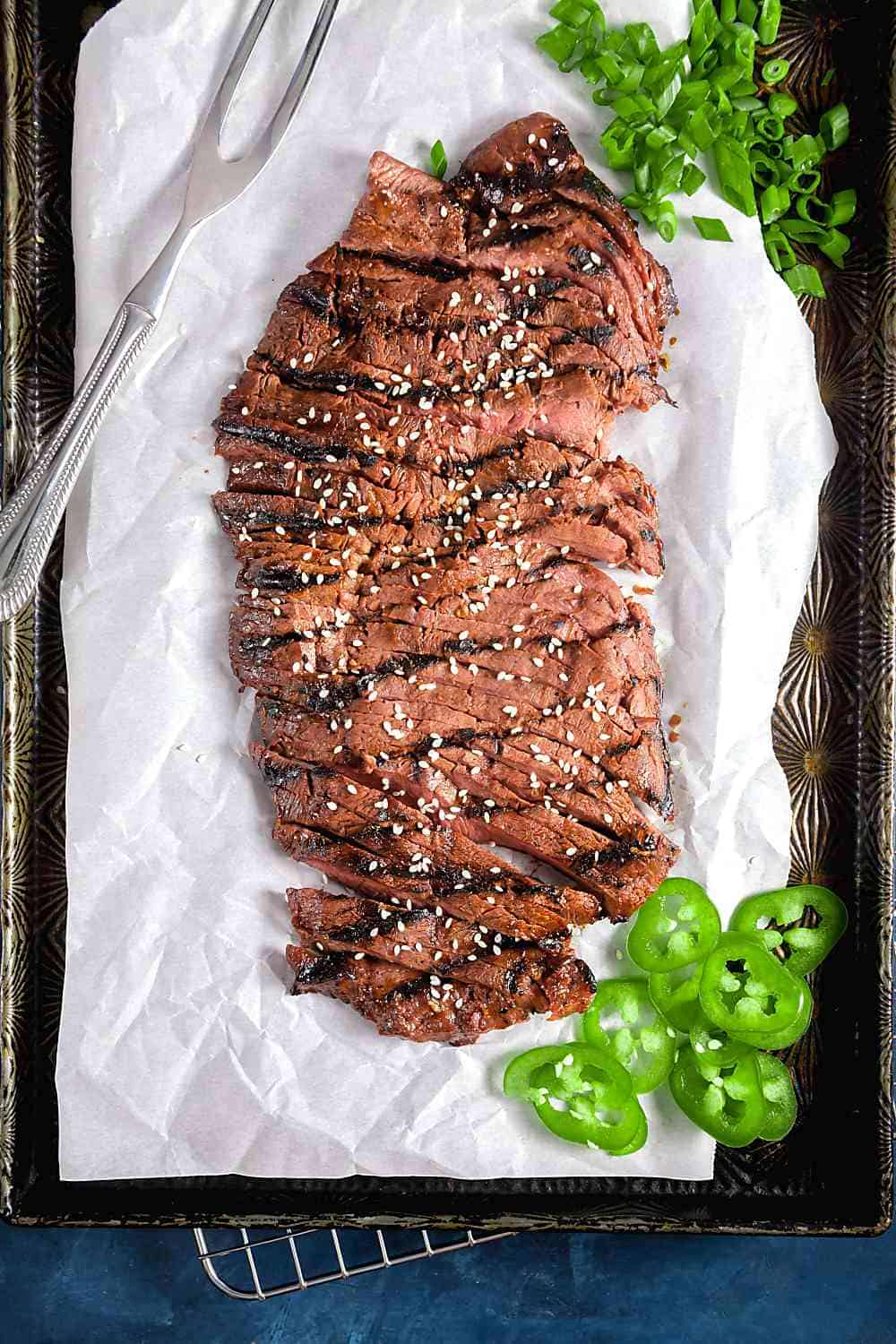 Grill Flat Iron Steak with Scallions and Jalapenos