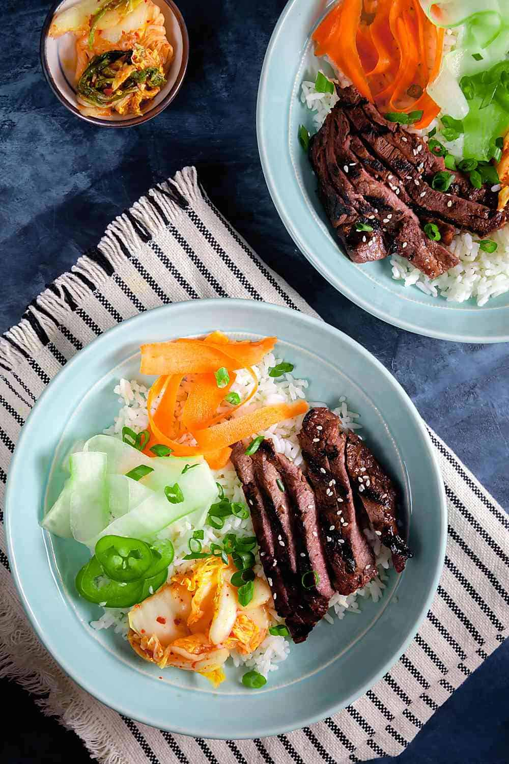 Korean Barbecue Beef Bowls with Stirped Towel