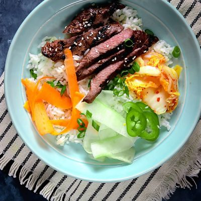 Korean Barbecue Steak Rice Bowls (Paleo/Whole 30 option)