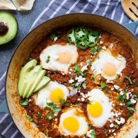 Salsa Poached Eggs with Chorizo