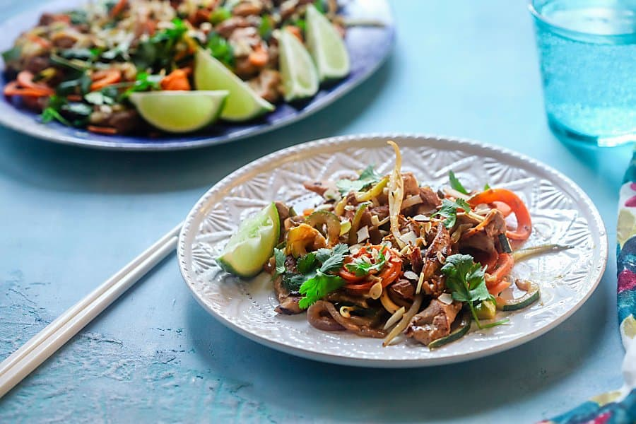 Spiralized Chicken Pad Thai from the Quick and Easy Spiralizer Cook Book