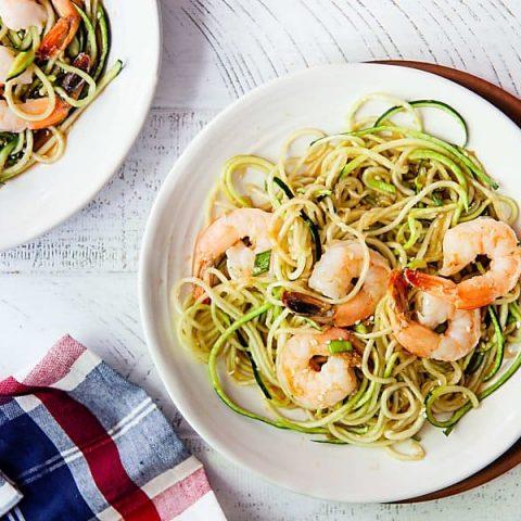 Ginger Sesame Zucchini Noodles with Shrimp