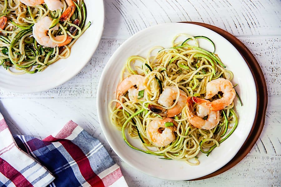 Ginger Sesame Zucchini Noodles with Shrimp