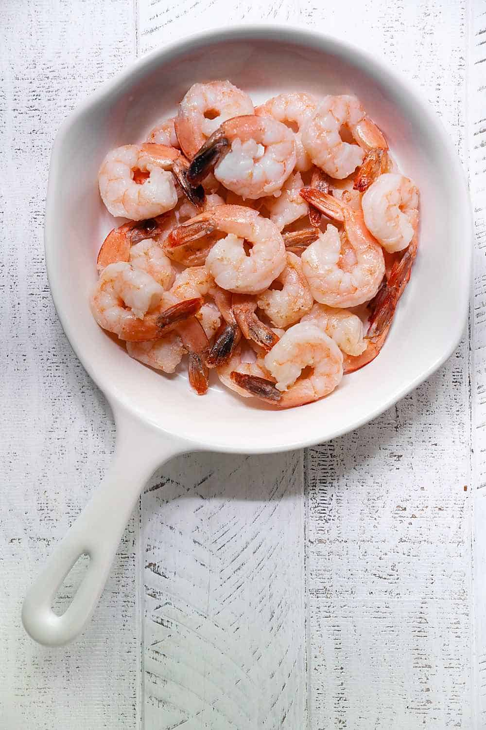 Sautéed Shrimp in a White Pan