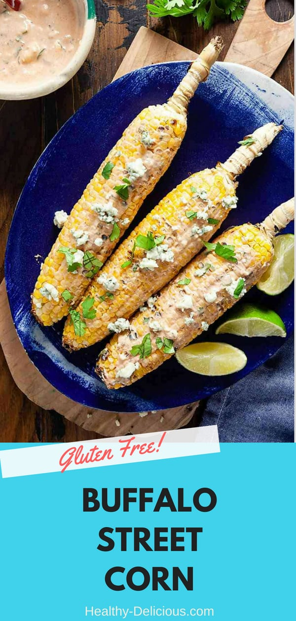 Dress up your grilled corn with a creamy mix of yogurt, wing sauce, and blue cheese for a summer side dish that'll make your taste buds dance!