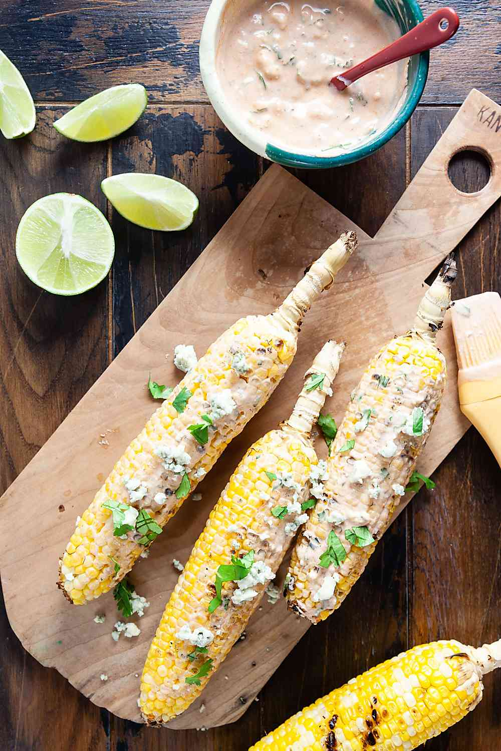 Buffalo Blue Cheese Grilled Corn