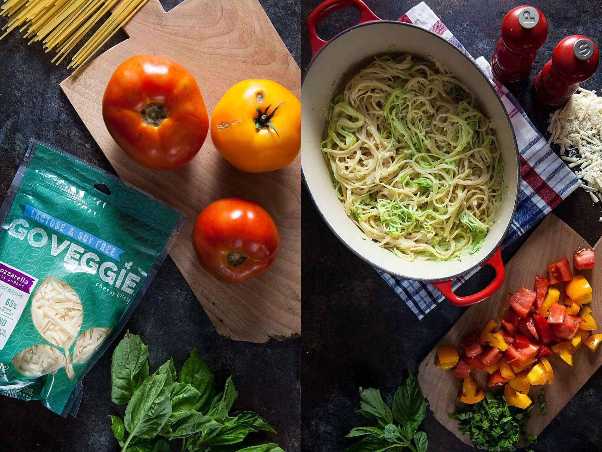 Ingredients for Gluten Free Caprese Pasta