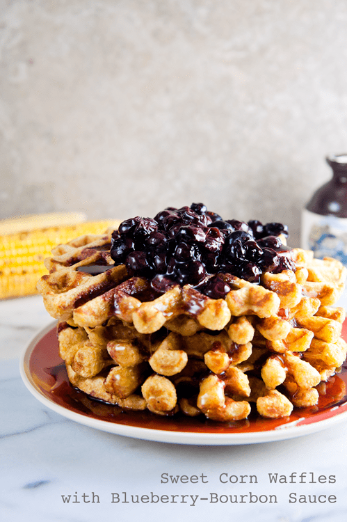 Sweet Corn Waffles with Blueberry-Bourbon Sauce 1