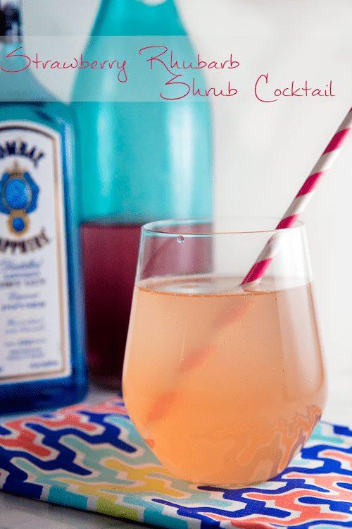 Strawberry Rhubarb Shrub Cocktail 1