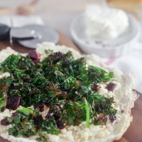 Crispy Kale and Beet Pizza