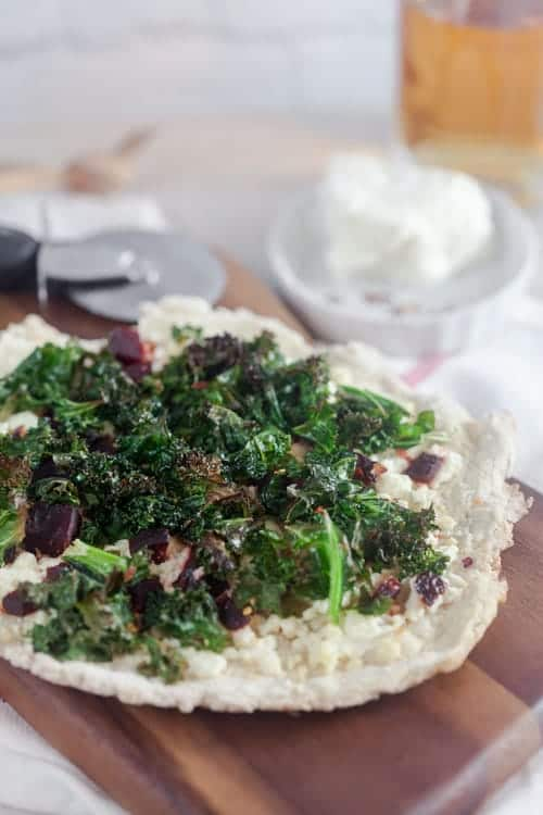 Crispy Kale and Beet Pizza 1