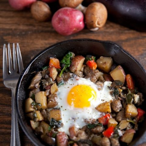 Farmers Market Hash with Baked Eggs
