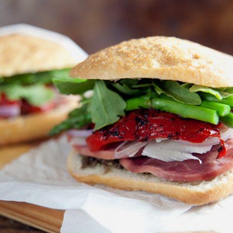 Ham + Asparagus Picnic Sandwiches