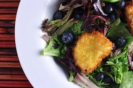 Herb Salad with Lemon-Poppy Vinaigrette and Warm Goat Cheese Croutons 1