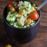 Italian Couscous Salad with Crispy Chickpeas