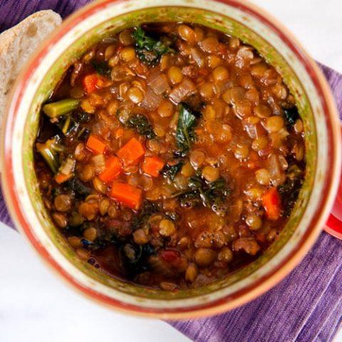 Lentil and Kale Soup with Merguez