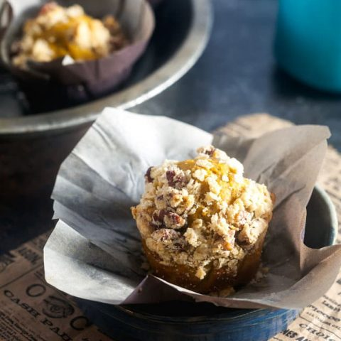 Spiced Sweet Potato Blender Muffins with Pecan Streusel