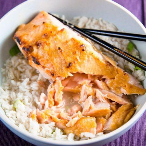 Miso Glazed Salmon in Green Tea-Ginger Broth