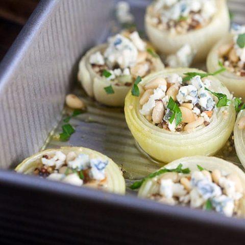 Roast Onions w/Gorgonzola + Pine Nuts #SundaySupper