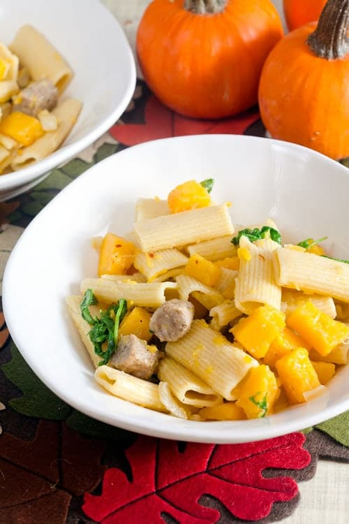 Rigatoni with Pumpkin, Fennel and Maple Sausage 1