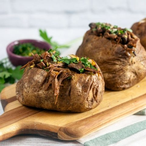 Pot Roast Stuffed Baked Potatoes with Gremolata