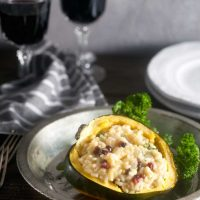 Acorn Squash Risotto with Pomegranate and Arugula