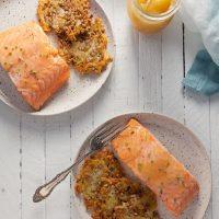 Lemon Curd Salmon with Potato-Farro Rosti
