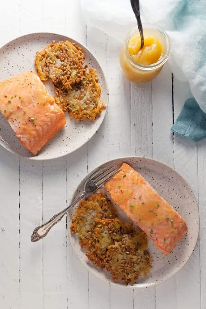 Lemon Curd Salmon with Potato-Farro Rosti 1