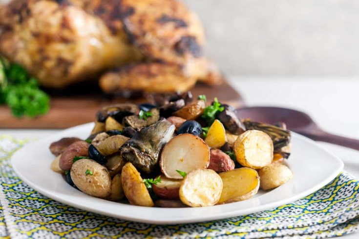 Roast Potatoes with Artichokes, Mushrooms, and Olives 1