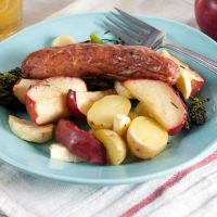 Roast Sausages with Apples and Parsnips
