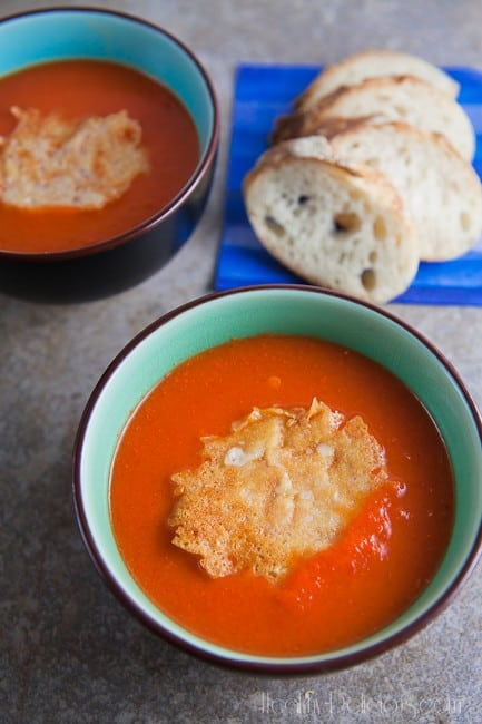 Red Pepper Bisque with Asiago Crisps {#PepperParty} 1