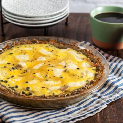 Salami and Swiss Quiche with Potato Crust