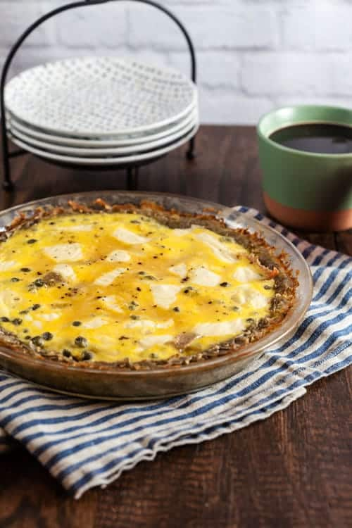 "Salami and Swiss Quiche with Potato Crust (""Raclette"" Quiche) 1"