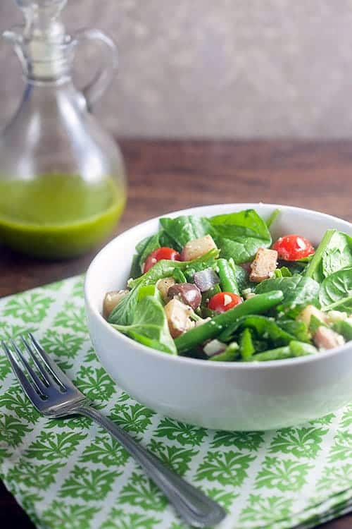 Spinach Salad w/Potatoes, Olives + Feta 1
