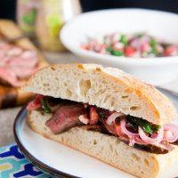 Steak Sandwiches with Spinach + Strawberry Salad