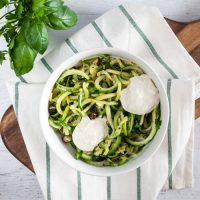 Sauteed Zucchini Noodles with Fresh Herbs + Hazelnuts