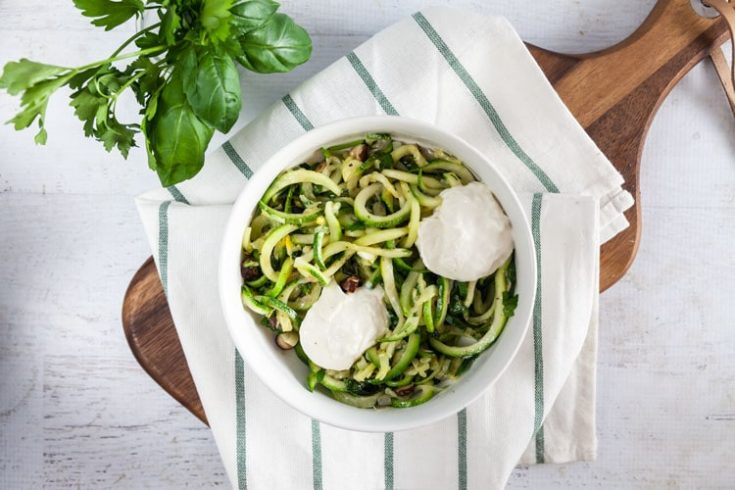 Sauteed Zucchini Noodles with Fresh Herbs + Hazelnuts 1