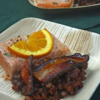 Smokey BBQ Baked Lentils Cedar Plank Salmon