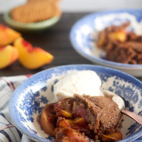 Biscoff Peach Cobbler