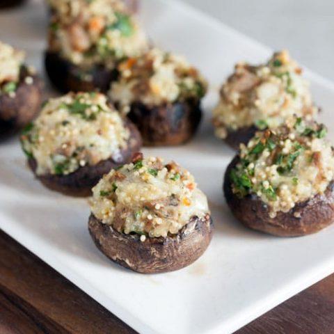 Quinoa and Sausage Stuffed Mushrooms