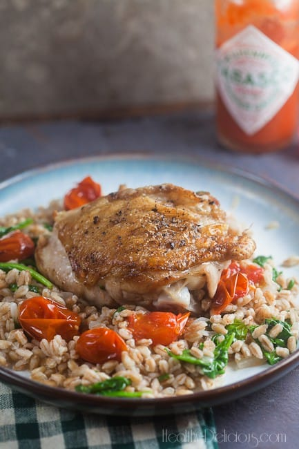 Chicken Thighs with Farro and Burst Tomatoes 1