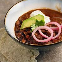 Beef and Bean Chili with Pickled Onions