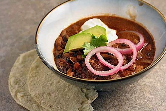 Beef and Bean Chili with Pickled Onions 1