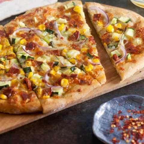 Chorizo Pizza with Corn and  Zucchini