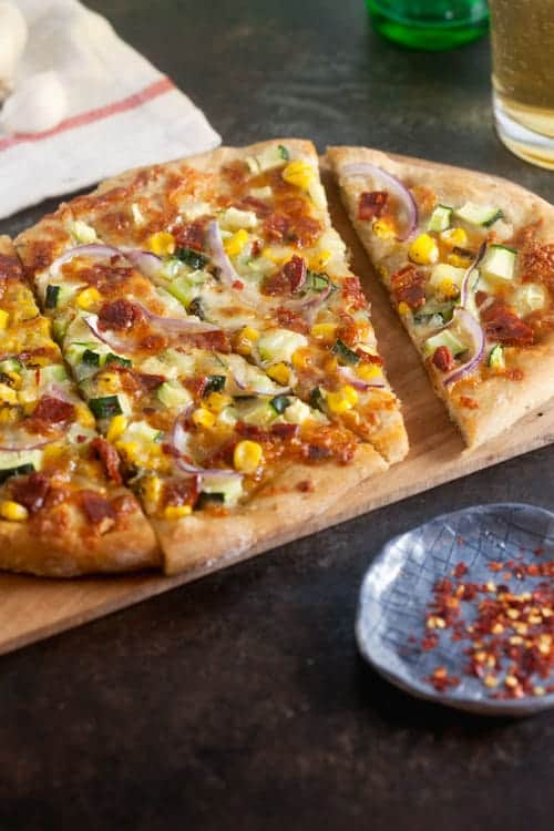 Chorizo Pizza with Corn and Zucchini 1