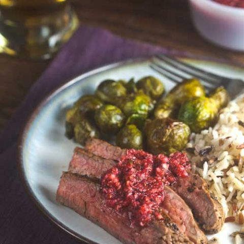 Coffee-Rubbed Steak with Cranberry Salsa