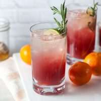 Sparkling Cranberry-Clementine Gin Cocktails with Rosemary + Honey