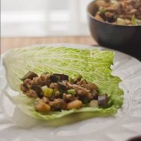 Ground Chicken and Eggplant Lettuce Wraps